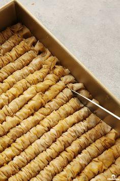 Cinnamon Baklava Rolls | Cleobuttera Indian Dessert Recipes, Sweets Recipes, Greek Recipes, Cooking Recipes, Diwali Recipes, Arabic Dessert, Arabic Food, Arabic Sweets, Baklava Roll Recipe