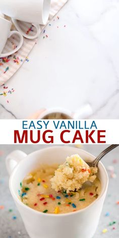 An easy microwave Vanilla Mug Cake (made without eggs) that's the fastest way to make dessert for one or two. Enjoy it plain, add nutella, or stir in a handful of chocolate chips and you're on your way to dessert bliss. snacks microwave Vanilla Mug Cake Microwave Mug Recipes, Fun Baking Recipes, Sweet Recipes, Snack Recipes, Cooking Recipes, Microwave Cake, Cookie Dough Recipes, Easy Microwave Desserts, Protein Cookie Dough