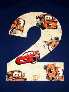 Tow Mater Lightning McQueen Cars Disney Pixar Applique Monogram Custom Letter or Number Boys Birthday T-Shirt Kids/Childrens/Toddler Clothes via Etsy