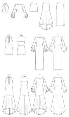 McCall's Sewing Pattern Misses' Column and Trumpet Dresses with Bodice and Sleeve Variations Dress Design Drawing, Dress Design Sketches, Fashion Design Sketchbook, Fashion Illustration Sketches, Dress Drawing, Fashion Design Drawings, Drawing Clothes, Fashion Sketches, Clothing Sketches