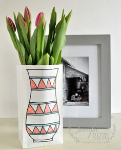 great paper bag project-fun way to gift flowers