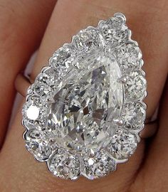 Stunning GIA Art Deco 3.78ctw Old Euro PEAR Cut Diamond Engagement Platinum Cluster Ring