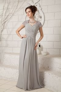 Grey Column V-neck Floor-length Chiffon Lace Mother Of The Bride Dress - $163.78