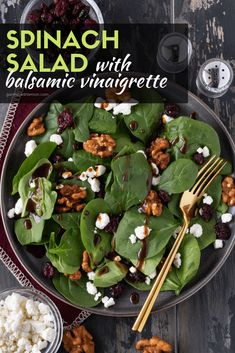 This Spinach Salad with Balsamic Vinaigrette is our go-to side salad for enterta… – January ve Getables Simple Spinach Salad, Spinach Salads, Dressing For Spinach Salad, Vinaigrette Dressing, Dressing Recipe, Balsamic Vinaigrette Recipe, Cooking Recipes, Healthy Recipes, Easy Cooking