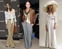 let's talk about the wide pants that are a strong fashion trend!  Besides being super stylish and comfortable, the wide pants are fresh and ideal for the summer. In summer 2012/2013 they promise to be the dominant pants, and you have to agree that it will be a delight to wear them.   It can be worn by teenagers,  young people or mature women.  I love wide leg pants.