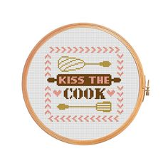 Kiss the cook  cross stitch pattern  modern by PatternsCrossStitch