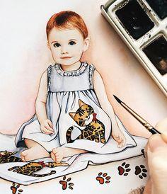 Custom illustration, Baby illustration, custom baby art, portrait of children, baby portrait, children painting, fashion illustration,