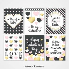 Collection of love cards with hearts and valentine messages Free Vector
