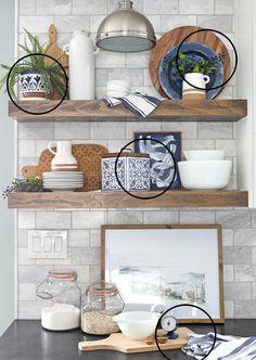 Shelves Over Kitchen Sink, Country Kitchen Shelves, Kitchen Shelf Decor, Floating Shelves Kitchen, Open Shelves, Kitsch, Library Room, Design Basics, Mantles
