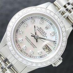 Ladies Rolex DateJust 18K WG/SS MOP Pearl Diamond Dial Watch