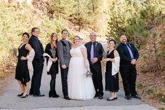 Bridal Party | Mountain wedding | mismatched black bridesmaid dresses | Crag's Lodge | Estes Park, CO