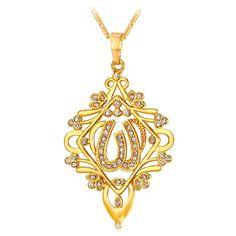 U7 New Statement Islamic Jewelry 18K Gold Plated Rhinestone Vintage Chandelier Allah Necklace  #ILoveJewelry