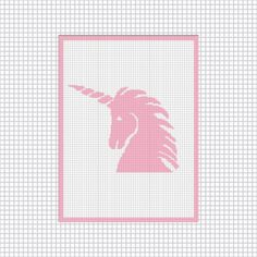 PINK UNICORN SILHOUETTE EASY CROCHET AFGHAN PATTERN GRAPH EMAILED .PDF