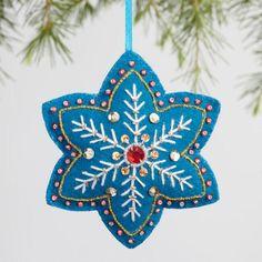 Felt Star Snowflake Ornaments Set of 3 - v1