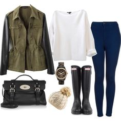 White Sweater, Dark Watch, Rain Boots, Green Khakie Jacket, Off white winter hat (dark jeans, black purse)