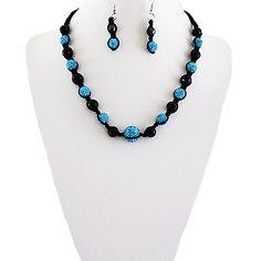 Fashion Shamballa Necklace & Earring Set-Aquamarine