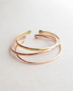 Hammered Bangle Bracelet Set - Set of 3 open bangles are handmade in copper, bronze and brass. By Olive Yew.