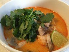 Tom Kai Gai, so fresh and full of flavour, chilli, ginger, lemongrass, chicken, stock, coconut milk, kaffier lime leaves, tomatoes, mushrooms, lime juice, fish sauce, lime, coriander