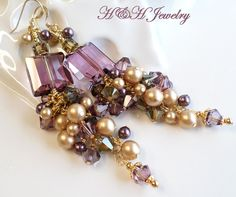 Swarovski Crystal Long Dangle Cluster Earrings In Plum and Browns by hhjewelrydesigns on Etsy