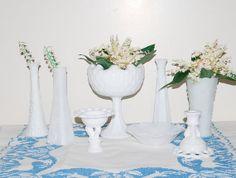 Vintage Shabby  Milk Glass by CheekyVintageCloset on Etsy, $74.00