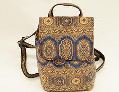 Carpet Bags Small Rucksack in Blue Chiraz