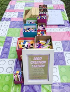 Lego Themed Party, Lego Birthday Party, 6th Birthday Parties, Lego Parties, 7th Birthday, Birthday Cakes, Birthday Ideas, Lego Friends Birthday, Lego Friends Party