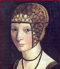 1500-1510 Macrino d'Alba portrait of Anna d'Alencon wearing a Spanish style netted cap (beatilla??) which sheds light on the sheer cap worn by the Lady with the Ermine by Leonardo