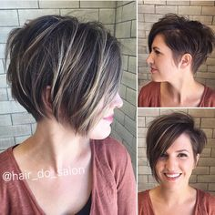 Asymmetrical undercut pixie Best Short Haircuts, Cool Haircuts, Pixie Hairstyles, Hairstyles 2016, Undercut Hairstyles, Trendy Hairstyles, Long Asymmetrical Pixie, Long Pixie Bob, Short Asymmetrical Hairstyles