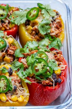 These Burrito Stuffed Peppers are Amazing for Clean Eating Food Prep! - Clean Food Crush These Burrito Stuffed Peppers are Amazing for Clean Eating Food Prep! Real Food Recipes, Cooking Recipes, Healthy Recipes, Beef Recipes, Real Foods, Weeknight Recipes, Cooking Bacon, Cooking Games, Food Tips
