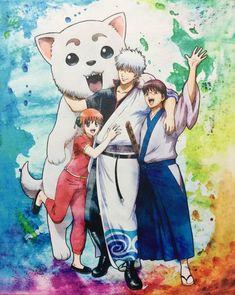 Gintama- sadaharu, kagura, gin, shinpachi Otaku Anime, Fairy Tail, Boruto, Gintama Funny, Silver Samurai, Beautiful Stories, What Is Like, Me Me Me Anime, Manga Art