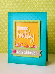 "handmade birthday card for Little Tangles: Challenge #37-Acetate ... luv the bright turquoise, lime and mango colors ... acetate cover on ""shaker  box"" ... stamped in White StazOn ink and filled with irredescent pink sequins ... delightful card!!"