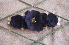 Couronne de fleurs en feutrine pour petite fille, noir et doré. : Mode Bébé par ma-petite