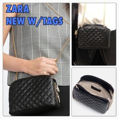 Zara new with tags quilted black crossbody bag ZARA MINI QUILTED CROSSBODY BAG.  Quilted Black cross-body bag, roomy and pretty. Long Gold chain and bold hardware. suitable for Day to Night occasions. 