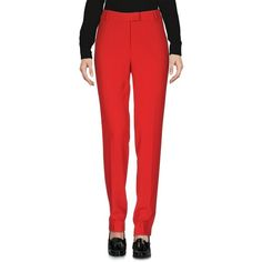 Boutique Moschino Casual Trouser (13,845 PHP) ❤ liked on Polyvore featuring pants, brick red, multi pocket pants, straight leg pants, red trousers, boutique moschino and regular fit pants