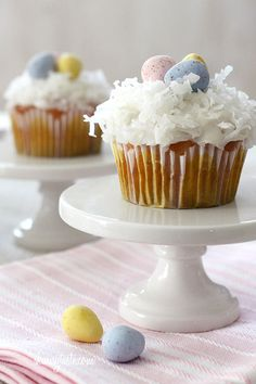 Skinny Coconut Cupcakes - the perfect sweet treat for your Easter meal. The kids will love them! #dessert #kidfriendly #cupcake