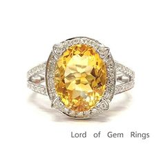 $719 Oval Citrine Engagement Ring Pave Diamond Wedding 14K White Gold,10x12mm,Split Shank