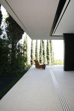 Floating wrap around balcony with cypress trees