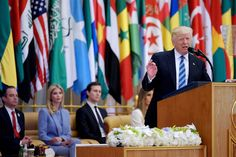"""President Donald Trump, speaking in Saudi Arabia, offered a message of unity Sunday as he called on the Muslim world to confront extremism. """"Drive them out of your communities, drive them out of your Holy Land, and drive them out of this Earth!"""" Trump said of terrorists to dozens of Arab leaders who attended his remarks."""