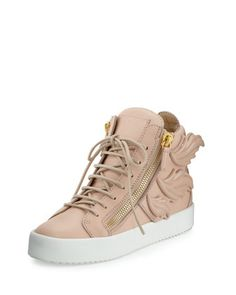 Wings+Leather+High-Top+Sneaker,+Shell+by+Giuseppe+Zanotti+at+Neiman+Marcus.