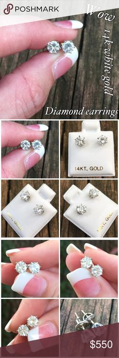 14k White Gold Diamond Stud Earrings 0.75ctw Wow these are amazing!! 14k solid white gold diamond stud earrings. Measure 4.7 mm. Diamonds are 0.75 ctw. Marked 14k with makers mark & are screw backs for extra security! The earrings are in great condition, ready to wear and adore!! Thanks for looking! If you have any questions please ask before you purchase. I ship out same day. Please make reasonable offer using the offer feature only. No lowball offers please ❤️ Jewelry Earrings