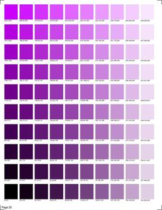 30 pages of RGB codes ready to print for color matching in smooth transitions. Purple Color Chart, Purple Color Code, Skin Color Chart, Pantone Colour Palettes, Purple Color Palettes, Colour Pallette, Pantone Color Chart, Purple Rgb, Rgb Color Codes