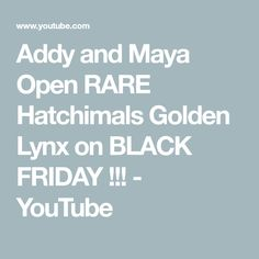 Addy and Maya Open RARE Hatchimals Golden Lynx on BLACK FRIDAY !!! - YouTube