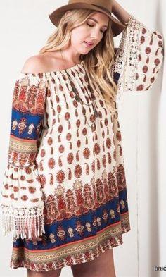 Kori-America-Plus-Size-Off-The-Shoulder-Dress-Fringe-Trim-Western-Tribal-PD1133 #Unique_Boho_Style