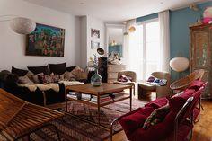 """Cette semaine, j'ai aimé l'appartement parisien de Madeleine Ably and family, pour les tapis, les coussins ethniques, le choix du bleu, les objets de récup... et cette armoire, complètement """"dusty"""", récupérée au fond d'une cave et décapée par Mathias, le…"""