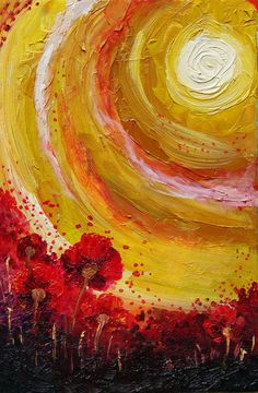 painted sun and poppies by Oli-Pop Art Inspo, Painting Inspiration, Art Soleil, Art Amour, Arte Van Gogh, Sun Painting, Sun Art, Art Et Illustration, Art Design