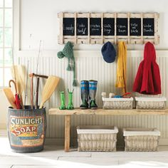 Love the metal barrel and chalkboard!