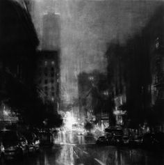 In the end, as light dims and the curtain falls on another small day, we won't lose sight of each other's eyes, even if everything in between is lost or fell away one cloudy afternoon to the sound of passing traffic. ~ Simon Van Booy, Tiger, Tiger / Cityscape in Black & White | Jeremy Mann