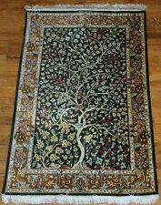Tree of Life Ahmadi Persian Silk Rug Signed Ahmadi Qum Qom #1014C