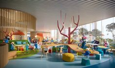 Gallery of Wins Competition for Copenhagen Children's Hospital with 'Playfully Logical' D. Gallery of Wins Competition for Copenhagen Children's Hospital with 'Playfully Logical' D Clinic Design, Healthcare Design, Win Competitions, Kindergarten Design, Media Room Design, Kids Library, School Library Design, Parents Room, Hospital Design