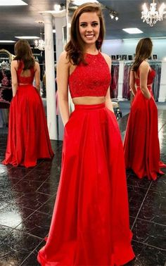 Two Piece Crew Open Back Floor-Length Red Prom Dress with Beading Pockets, Shop plus-sized prom dresses for curvy figures and plus-size party dresses. Ball gowns for prom in plus sizes and short plus-sized prom dresses for Gold Prom Dresses, Prom Dresses Two Piece, Prom Dresses For Sale, Prom Party Dresses, Homecoming Dresses, Evening Dresses, Formal Dresses, Quinceanera Dresses, Dress Long